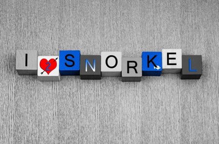 speargun: I Love To Snorkel, sign series for watersports, snorkelling and spearfishing, with fish icon Stock Photo
