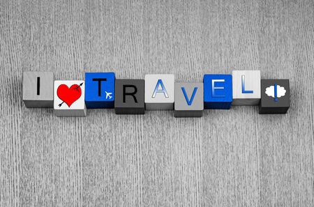I Love Travel sign Stok Fotoğraf
