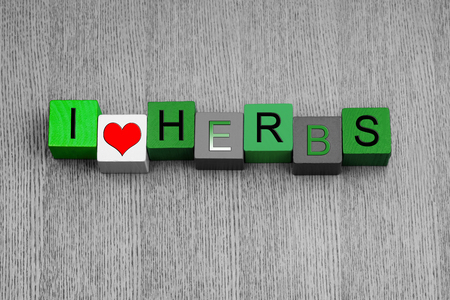 I love herbs, sign series for garnish, cooking, recipes and gardening, in green  photo