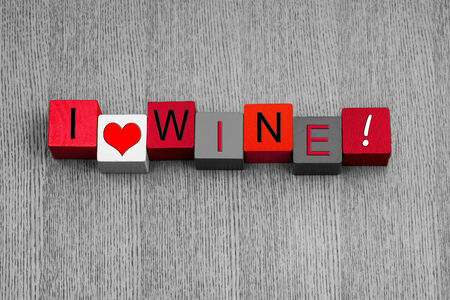 alcohol series: I Love Wine, sign series for white wine and alcohol, for love of the grape, with heart symbol  Stock Photo