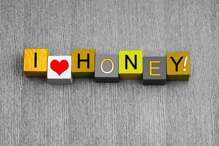 spreads: I Love Honey, sign series for spreads, food and cooking, with heart symbol  Stock Photo