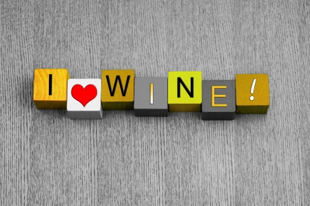 I Love Wine, sign series for white wine and alcohol, for love of the grape, with heart symbol  Stock Photo