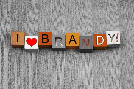 I Love Brandy, sign series for liquor, drinks and alcohol, in suitable amber, with love heart symbol. photo