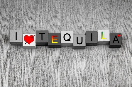 alcohol series: I Love Tequila, sign series for liquor, drinks and alcohol, with love heart symbols. Stock Photo