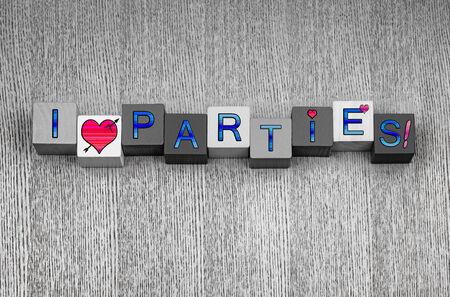 I Love Parties, sign series for drinks, celebration and a party, in blue with pink heart symbols. photo
