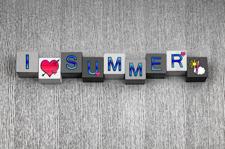 I Love Summer, sign series for holidays, vacations, summer season and hot weather, with pink heart symbols and sun and cloud icons.  photo