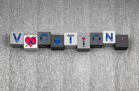 time off: Love Vacation, feminine sign series for vacations, holiday trips, and time off abroad, in blue with pink heart symbols. Stock Photo