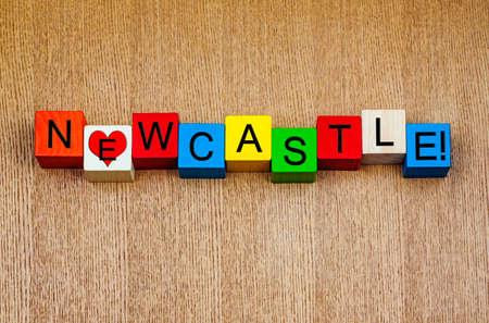 Love for Newcastle, sign series for holidays, cities, sport, place names and travel. photo