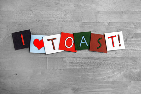 burnt toast: I Love Toast, sign series for bread, toasties, snacks, cooking and food, with heart symbol.