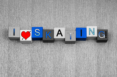 I Love Skating, sign for ice or figure skating and winter sports, in snow white, blue and icy colors, with heart symbol.