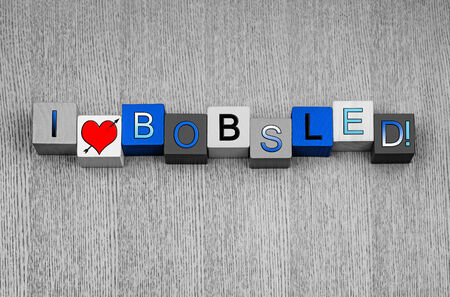 bobsled: I Love Bobsled, sign for winter sports, bobsleds and racing, with heart symbol. Stock Photo