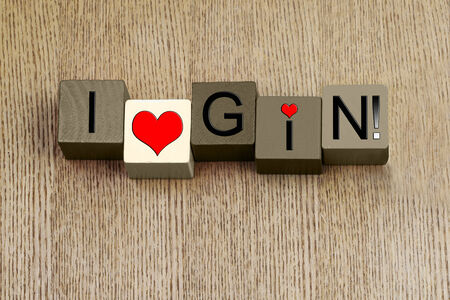 slings: I Love Gin, sign series for liquor, spirits, alcohol, food and drink and gin lovers, from gin slings to gin and tonic! Stock Photo