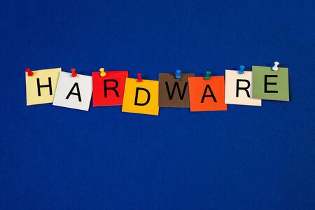 terminology: Hardware, sign series for computer terminology and the internet. Stock Photo