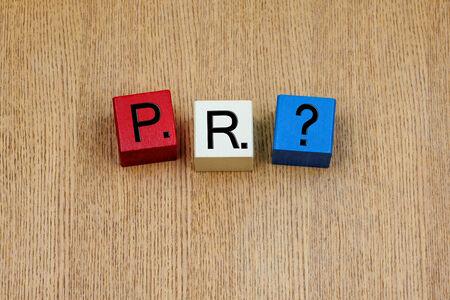 relations publiques: PR, signe s�rie en lettres d'affaires et des relations publiques Banque d'images
