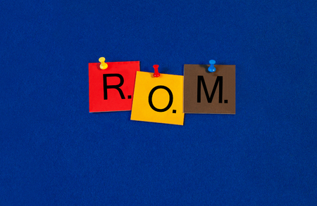 rom: ROM, random access memory, sign series for computer terms and hardware. Stock Photo