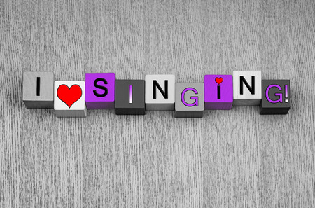 I Love Singing, sign for song, music and karaoke, in pink. Stock Photo