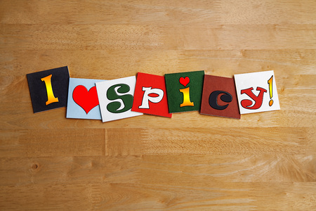 I Love Spicy, sign series for spices and hot spicy food, with heart symbol. photo
