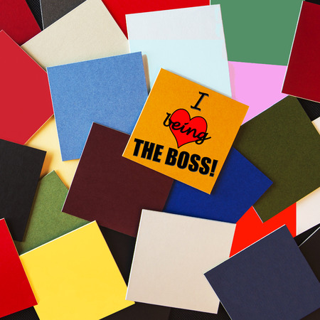 Love Being the Boss, sign or design series concept for business owners, self employed, being the boss or CEO. Stock Photo