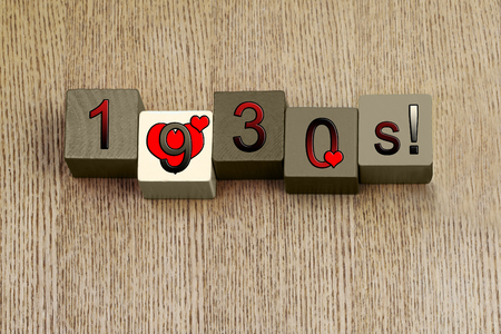 decades: Love for 1930, sign series for calendar years and decades, in numbers. Stock Photo