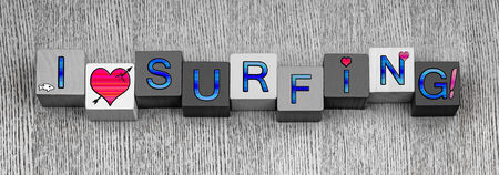 I Love Surfing, sign series for surfers and the surf, in blue with pink heart symbols, panorama. photo
