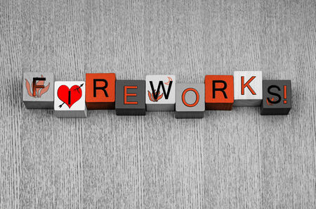 guy fawkes night: I Love Fireworks, sign for Bonfire or Guy Fawkes Night, with fire icons. In bonfire orange. Stock Photo