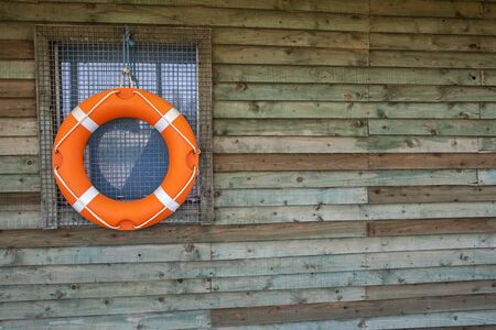 watersports: Life Ring or Life Buoy on Hut, for watersports and water safety.