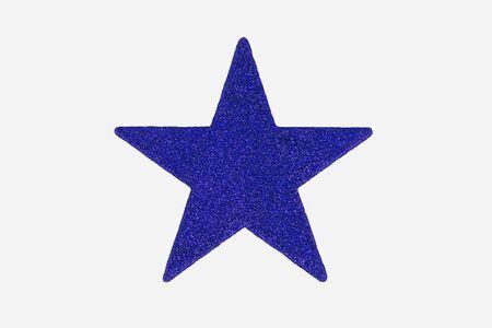 christmas star: Blu Decorazione di Star Natale, isolato su sfondo bianco.