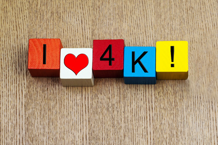 definition high: 4K sign - I love 4K, for high definition digital resolution. Stock Photo