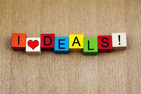 closure: I Love Deals, sign for business sales, deal closure, sales, finance, and living! Stock Photo
