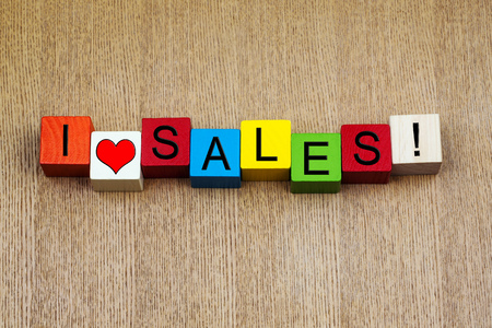 bargain for: I Love Sales, sign for a bargain, discount and business sales! Stock Photo