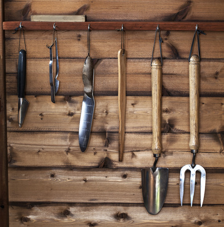 Garden tools hanging up in wooden shed, dibbers, trowel, fork and spade. Stock Photo