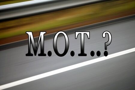 mot: M.O.T.  sign, for transport, car and vehicles, with road background.