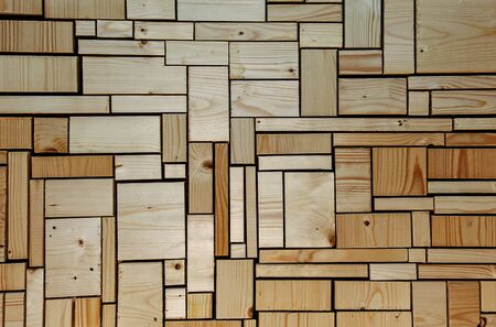 off cuts: Woodwork and carpentry background  texture  design. With roughly sawn and unsanded wooden blocks and off cuts.