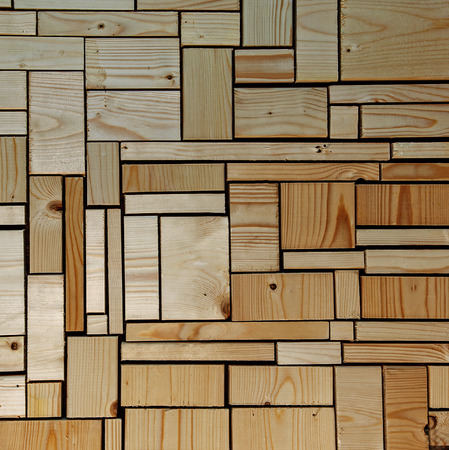 off cuts: Woodwork and carpentry background  texture  design. With roughly sawn and unsanded wooden blocks and off cuts - square composition.