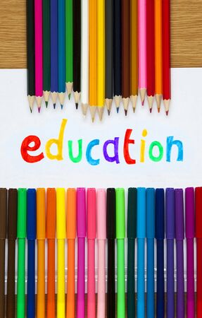 felt tip: Education in felt tip with pencil crayons, educational design.