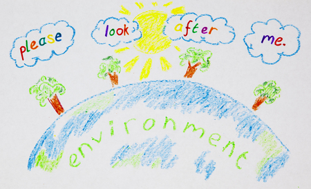 Childs wax crayon drawing for environment and education, green issues. Stok Fotoğraf