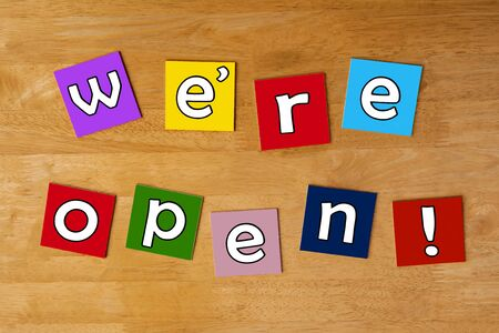 open business: Were Open - welcome sign for business, retail and shops.