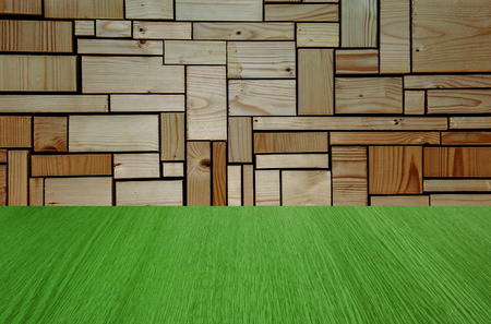 Natural wooden green background with nature green flooring, for product design - stage, wall, flooring, interior, with depth and perspective - with copy  text space for your design.