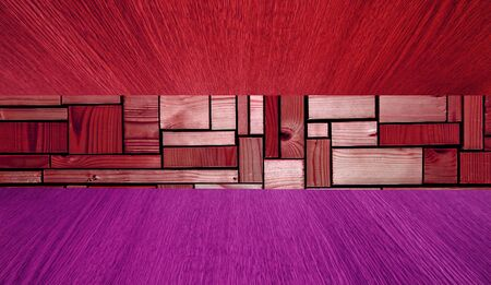 diminishing perspective: Red and purple wooden background or backdrop, diminishing perspective, with copy  text space for your design. Stock Photo