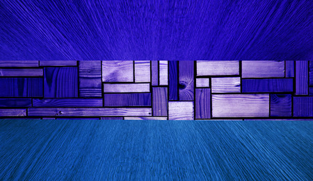 diminishing perspective: Blue wooden background or backdrop, diminishing perspective panorama, with copy  text space for your design.