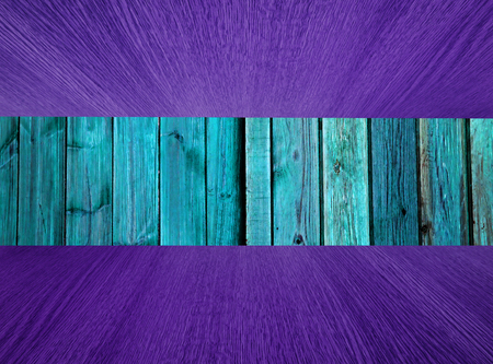 diminishing: Natural wood background, backdrop with turquoise green and purple flooring  ceiling, diminishing perspective, for your design.