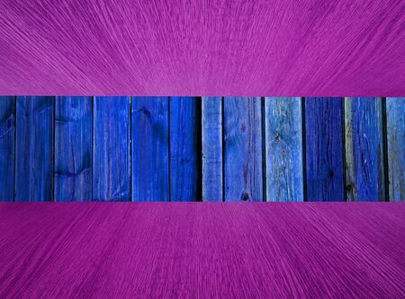 diminishing perspective: Natural wood background, backdrop with blue background, purple flooring  ceiling, diminishing perspective, for your design. Stock Photo