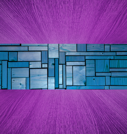 diminishing perspective: Purple and blue wooden background  backdrop, with natural wood in diminishing perspective, for your design. Stock Photo