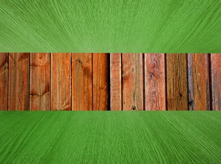 diminishing perspective: Natural wood background, backdrop with green flooring  ceiling, diminishing perspective, for your design.