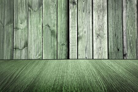 diminishing: Rustic pale green wooden backdrop, pastel background design, wood floor with diminishing perspective  blur  motion effect. Stock Photo