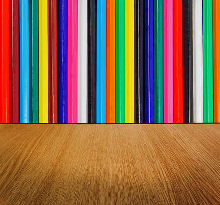 diminishing perspective: Multicolor backdrop, with wood floor in diminishing perspective -  creative, fun, colorful abstract background texture.