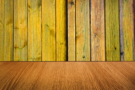 diminishing perspective: Yellow and natural wood backdrop, background design, with diminishing perspective  blur  motion effect. Stock Photo