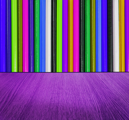 diminishing perspective: Purple and multicolor backdrop, with wood floor in diminishing perspective -  creative, fun, colorful abstract background texture.