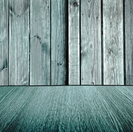diminishing perspective: Rustic wooden pastel background design, pale turquoise wood backdrop, wood floor with diminishing perspective  blur  motion effect - square composition. Stock Photo