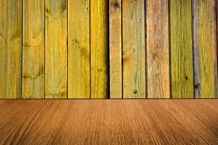 diminishing: Yellow and natural wood backdrop, background design, with diminishing perspective  blur  motion effect. Stock Photo